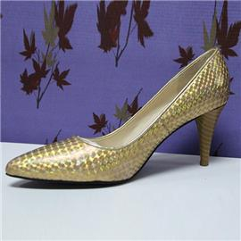 2016新款 BS-XC619 伯昇鞋业时尚女鞋高跟鞋,伯昇金色蛇皮纹女高跟鞋