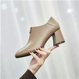 2019新款上市时尚百搭真皮粗跟圆头真皮女鞋