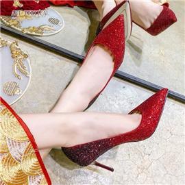 2020新款高跟鞋女細跟尖頭性感網紅百搭禮服紅色單鞋