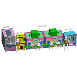 成型中段YL-4208两站(一次药水一次胶水) |双层立体输送线 |自动喷胶机器人