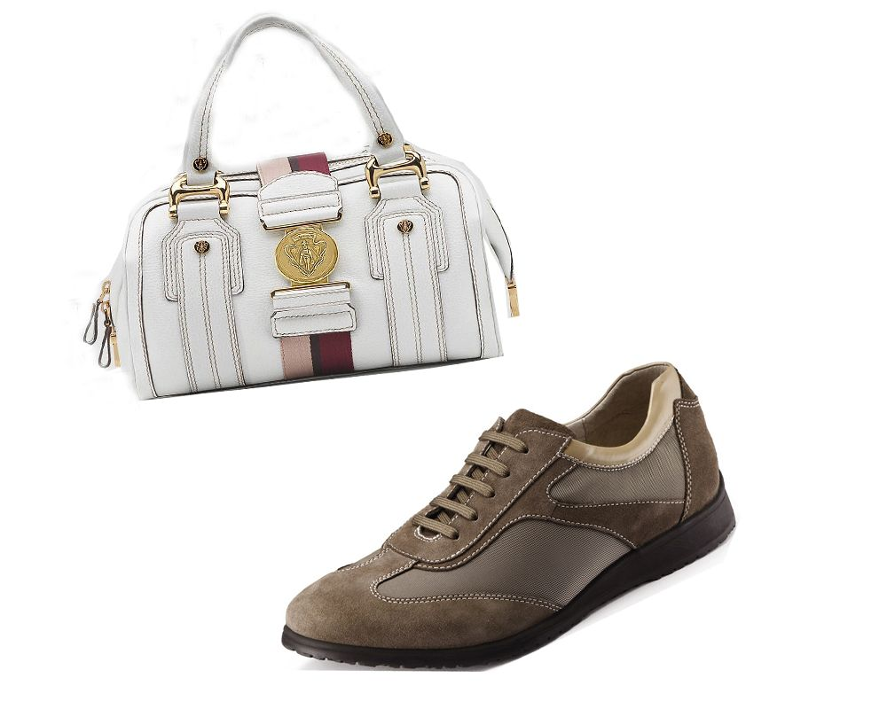 Computer sewing machine sewing shoes, handbags shown
