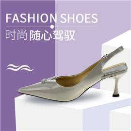 SE81151-1牛漆皮羊皮橡胶底6cm后空凉鞋