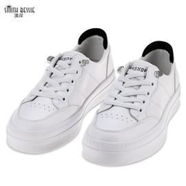 SET588-1牛皮PU猪皮橡胶底小白鞋