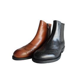 17年秋冬新款欧美风范头层牛皮雕花弹力机车女靴修长腿切尔西女靴图片