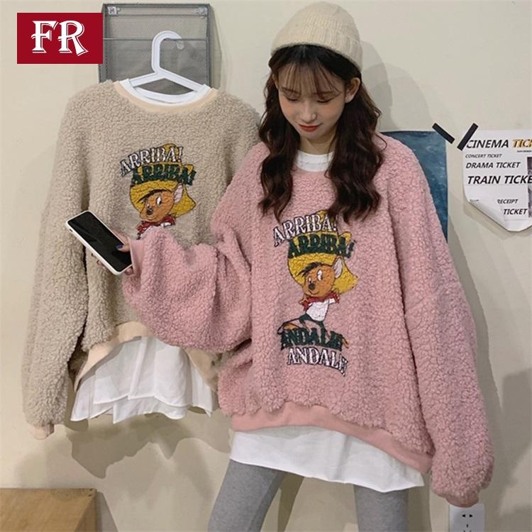 秋冬2019新款韩版卡通印花粉色仿羊羔毛假两件长袖宽松套头卫衣女