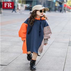 女童加绒加厚卫衣2019新款秋冬装韩版儿童中长款洋气大童撞色上衣