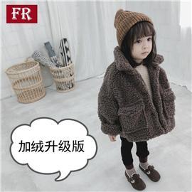 加绒加厚款儿童外套2019秋冬款男童女童羊羔毛外套保暖夹棉大衣