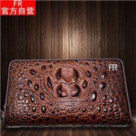 FR男手拿包2018新款大容量雙層鱷魚紋拉鏈商務手包牛皮錢包真皮長款錢包