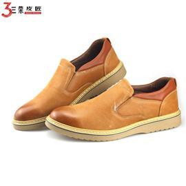 新款爸爸男鞋秋冬商务休闲皮鞋男 头层真皮套脚低帮耐磨透气鞋