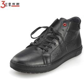 秋冬新款平底真皮板鞋系带男短靴英伦风高帮时尚韩版皮鞋
