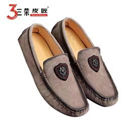 三荣皮匠B2011男士休闲豆豆鞋进口猪戈巴面皮猪皮里橡胶底一脚蹬懒人鞋
