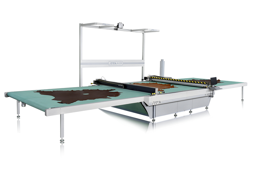 IC800DHC 双刀头传送带式智能皮革切割机|电脑皮革切割机|电脑数控机