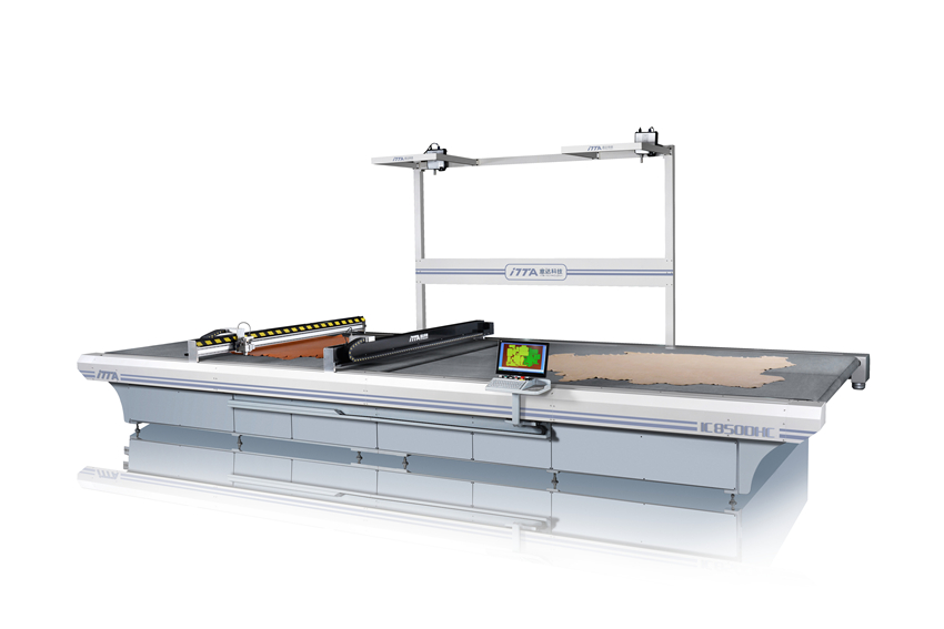 IC850DHC double head and double conveyors intelligent leather cutting machine