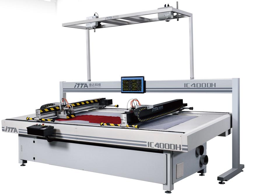 【意达科技】增加真皮切割量产,试试这台:IC400DH 智能振动刀皮革切割机(双头)