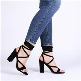 2017新款女式凉鞋脚腕绑带鞋高跟凉鞋方根粗跟鞋露趾高跟女鞋圆头纯色女鞋女鞋代理