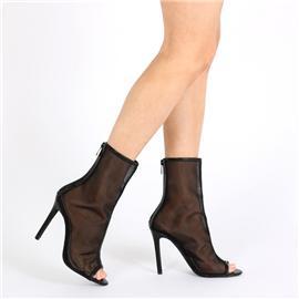 2017年秋季新款真皮女靴高跟细跟女靴拉链露趾女靴时尚马丁靴中筒女靴欧美时尚女鞋批发