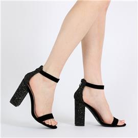 2017新款女鞋粗跟凉鞋高跟凉鞋一字带凉鞋系带扣带女鞋时尚凉鞋女鞋代理