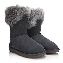 时尚兔毛中筒雪地靴图片