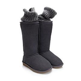 外翻毛线中筒雪地靴图片