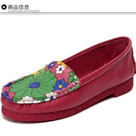 英吉麗頭層牛皮時尚復古花朵舒適女單鞋圖片