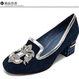 英吉丽羊猄复古独特优美时尚水钻女单鞋