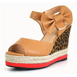 英吉丽豹纹坡跟编织厚底女凉鞋图片