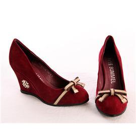 甜美休闲红色坡跟鞋