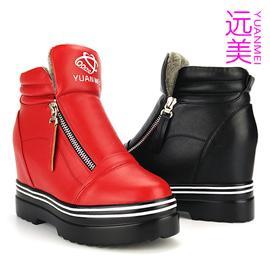 3582远美防滑橡胶厚底加棉女靴新款双拉链高帮鞋棉鞋内增高女鞋休闲鞋