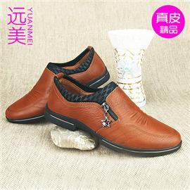 3987—1男鞋休闲真皮单鞋套脚圆头平跟软底防水台头层牛皮金属拉链商务鞋
