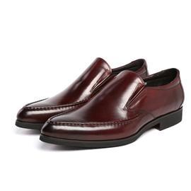 真皮男单鞋 新款正品商务正装经典套脚头层皮男鞋皮鞋布洛克