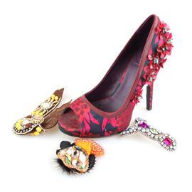 成品鞋001 立康鞋材 鞋花 珠绣鞋面 款式新颖 厂家直销 欢迎订购