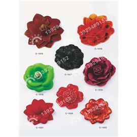 C系列韓版新款山茶花皮革花包芯花多色鞋花配件 絹紗雪紡玫瑰花頭花服飾包包配件