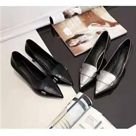 17新款头层牛皮女鞋时尚中跟女鞋浅口女鞋尖头高跟鞋