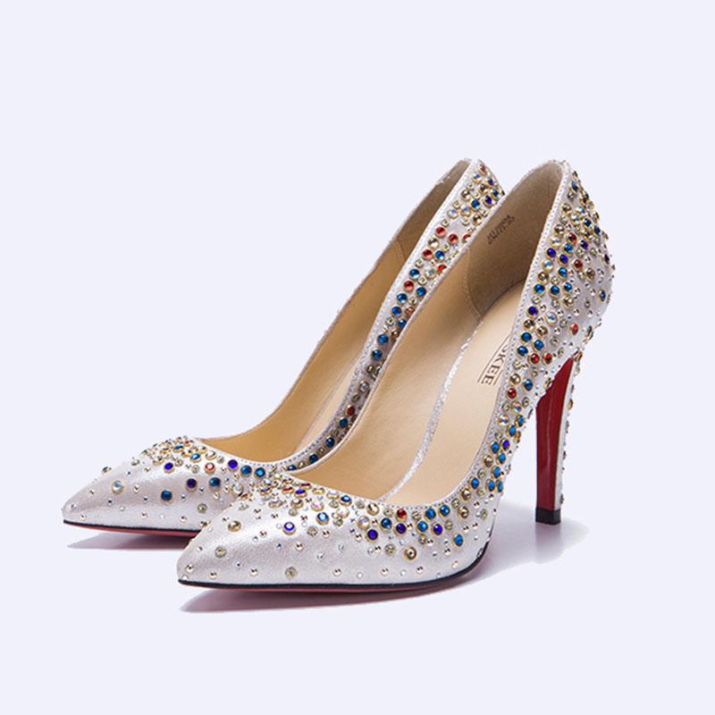 伯昇彩色水鉆女鞋高跟女單鞋尖頭女鞋BS035