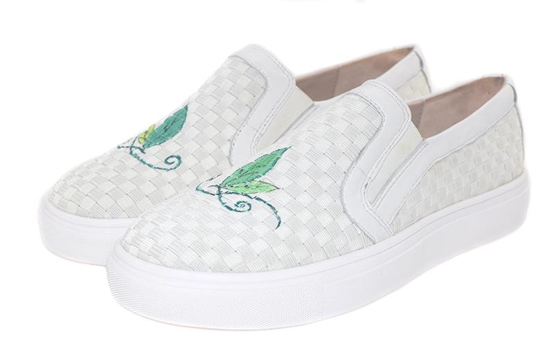 【伯昇】绘画图案休闲百搭女鞋舒适编织女单鞋