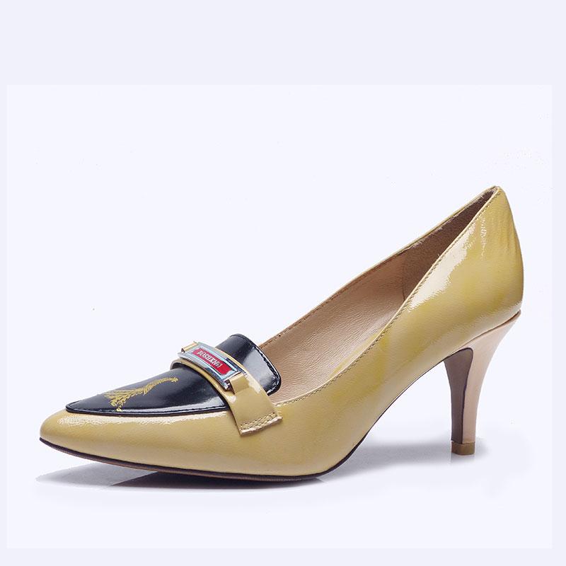 伯昇凤牌黄金logo高跟女单鞋尖头女鞋黄色女鞋BSF001