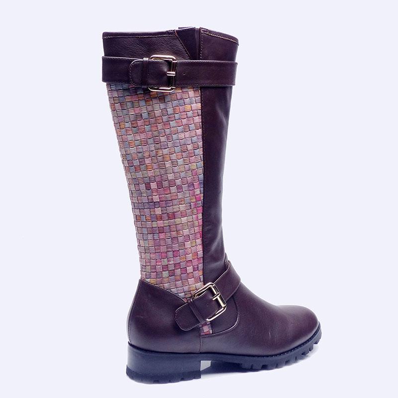 伯昇拼接编织女靴低跟女靴高筒女靴BS109