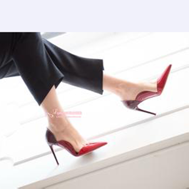 伯昇尖頭女鞋高跟女鞋漸變漆皮女鞋個性時裝女鞋BS051