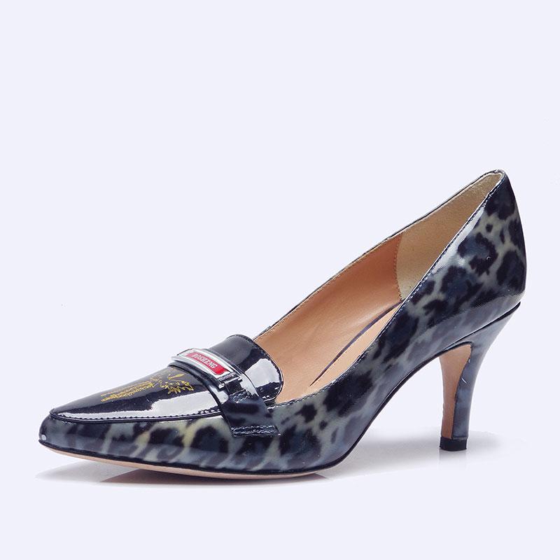 伯昇鳳牌黃金logo高跟女單鞋尖頭女鞋黑豹紋女鞋BSF001