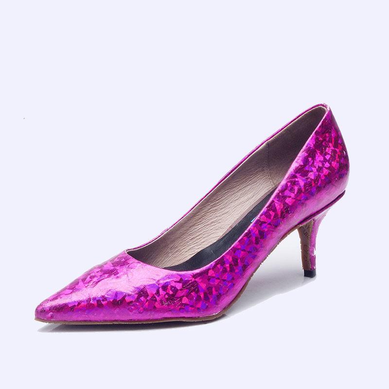 伯昇炫彩女鞋印花女鞋高跟女單鞋多色女鞋BS036