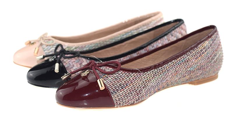 【伯昇】彩色编织女鞋拼接色女鞋平底蝴蝶结女单鞋BS006