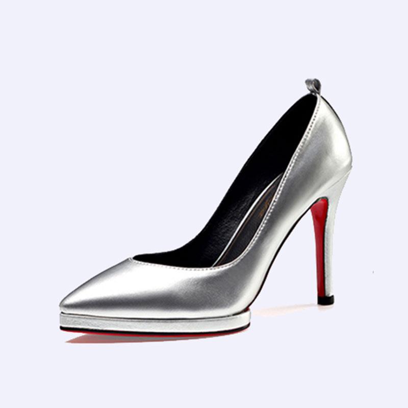 伯昇金色女鞋高跟女單鞋尖頭女鞋BS032