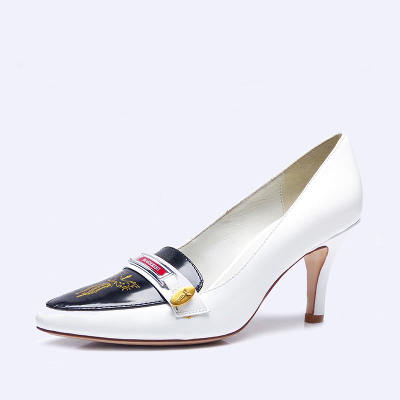 伯昇鳳牌黃金logo高跟女單鞋尖頭女鞋白色女鞋BSF001