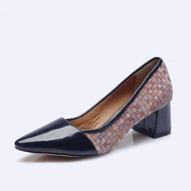 伯昇彩色女鞋松紧编织女鞋尖头女鞋拼接高跟女鞋BS042