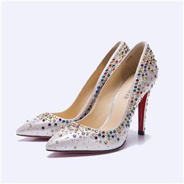 伯昇彩色水钻女鞋高跟女单鞋尖头女鞋BS035