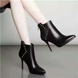 伯昇尖头女靴铆钉女靴高跟裸靴BS083