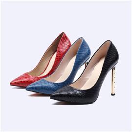蛇纹女鞋高跟女单鞋尖头女鞋BS040