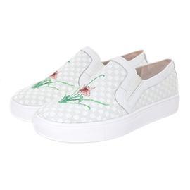 【伯昇】手工彩绘女鞋时装百搭小白鞋一?#35834;?#20241;闲编织鞋女