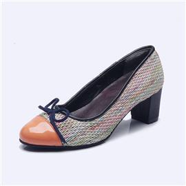 伯昇彩色女鞋编织女鞋高跟女单鞋蝴蝶结女鞋BS043