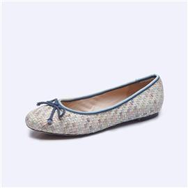 伯昇彩色编织女鞋平底女鞋圆头蝴蝶结女单鞋BS005